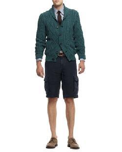 Brunello Cucinelli - Buttoned Shawl-Collar Cardigan, Buttoned Check Shirt & Linen Cargo Bermuda Shorts