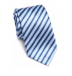 Saks Fifth Avenue Collection - Herringbone Textured Striped Silk Tie
