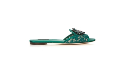 Dolce & Gabbana   - Bianca Crystal-Embellished Lace Slides
