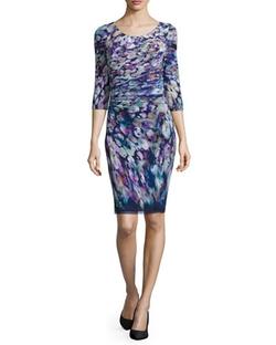 Kay Unger New York - 3/4-Sleeve Floral-Print Dress