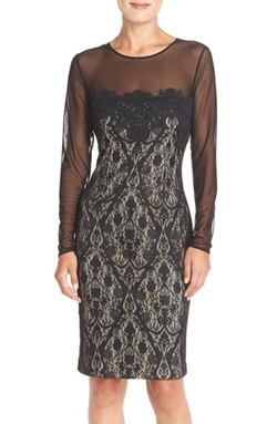 Maggy London  - Illusion Lace Sheath Dress