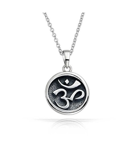 Bling Jewelry  - Round Medallion Om Aum Pendant Necklace