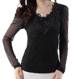 VonFon  - Womens Long Sleeve Lace V-neck Slim fit Bottoming Shirt
