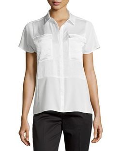 J Brand Ready to Wear - Pocket Contrast-Panel Short-Sleeve Blouse