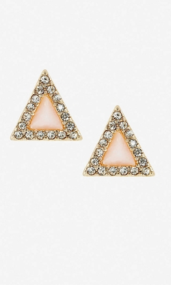 Express - Triangle Pave And Stone Post Earrings