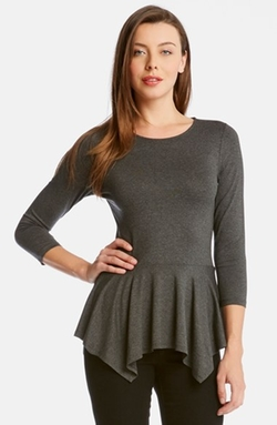 Karen Kane - Three-Quarter Sleeve Peplum Top