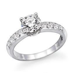 ND Outlet - Engagement  - 1 ctw. Round Diamond Solitaire Engagement Ring in 14k White Gold