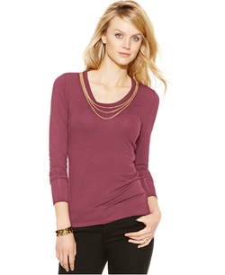 Michael Kors  - Chain-Neck Long-Sleeve Top