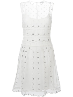 Red Valentino   - Polka Dot Sheer Scalloped Dress