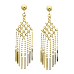Double Accent - Lines Drop Earrings