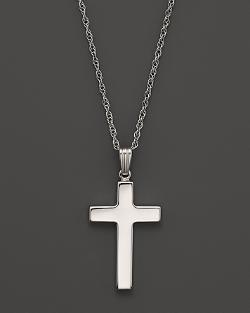 14K  - White Gold Polished Cross Necklace