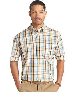 Izod -  Lightweight Short-Sleeve Plaid Shirt