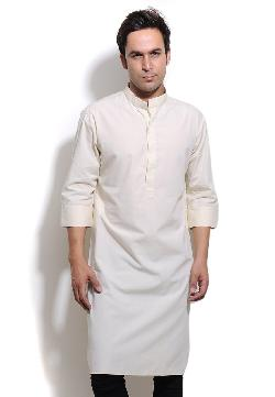utsavfashion - Cream Cotton Readymade Kurta