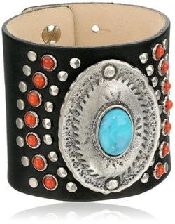 Streets Ahead - Leather Silver Disc Cuff Bracelet