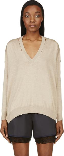 Stella McCartney  - Silk Blend Oversize V-Neck