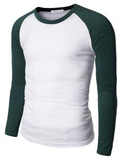 Doublju  - Mens Raglan Crew Neck T-shirts
