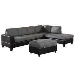 Venetian Worldwide - Dallin Gray Microfiber Sectional Sofa with Ottoman