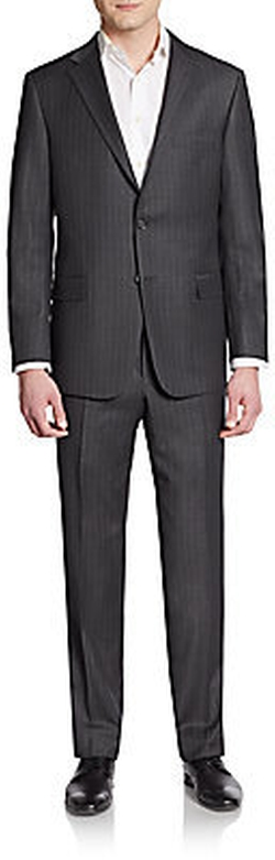 Hickey Freeman - Regular-Fit Striped Worsted Wool Suit