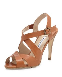 Manolo Blahnik   - Etola Leather Crisscross Sandal