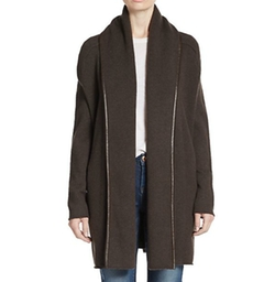 Vince - Leather-Trimmed Wool-Blend Cardigan