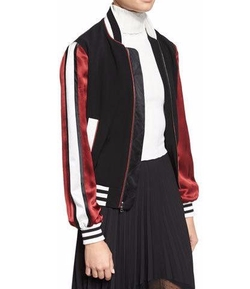 Cinq à Sept Ivy  - Striped Satin-Sleeve Bomber Jacket