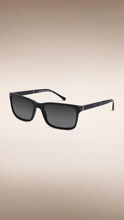 Burberry - Square Frame Brushed Metal Detail Sunglasses