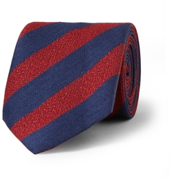 Charvet - Striped Silk And Linen-Blend Tie