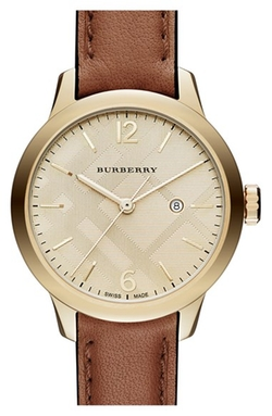 Burberry - Check Stamped Dial Leather Strap Watch