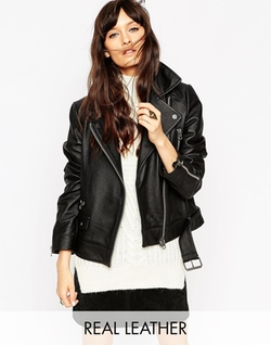 Asos Collection - Leather Biker Jacket