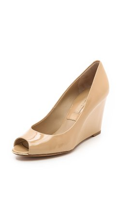 Michael Kors Collection  - Valari Patent Peep Toe Wedge Sandals