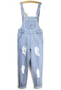 Romwe - Strap With Pocket Ripped Denim Jumpsuit