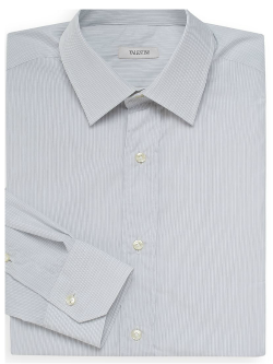 Valentino -  Cotton Striped Button-Front Shirt