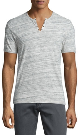 John Varvatos Star USA  - Heathered Short-Sleeve Henley T-Shirt