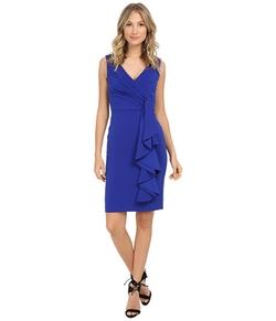 Badgley Mischka  - Stretch Crepe V-Neck Side Ruffle Dress