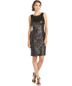 Sue Wong - Black And Gold Woven Sequin Sleeveless Dress