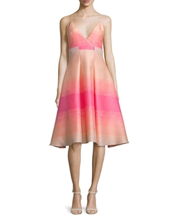 Badgley Mischka  - Sleeveless Striped-Ombre Dress