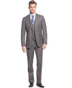 Kenneth Cole Reaction  - Light Grey Solid Vested Slim-Fit Suit