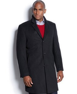 Nautica  - Single-Breasted Black Solid Overcoat