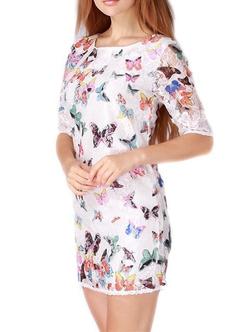 Romwe - Butterfly Print Lace Sheath Dress