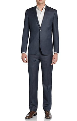 Saks Fifth Avenue RED  - Trim-Fit Sharkskin Wool Suit
