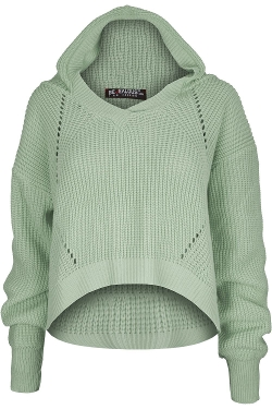 Oops Outlet - Chunky Cable Knitted Stretch Hoodie Shirt