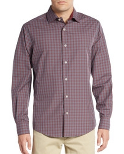 Saks Fifth Avenue - Regular-Fit Yarn-Dye Check Sportshirt