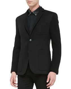 Versace Collection - Two-Button Jacket with Knit Sleeves