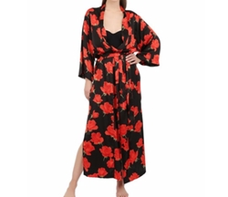Loretta Caponi   - Rose Printed Silk Satin Robe