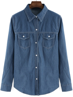 Romwe - Lapel Buttons Pockets Denim Blue Blouse