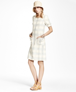 Brooks Brothers - Textured Dobby Cotton-Blend Plaid Dress