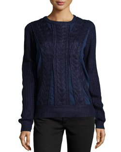 Neiman Marcus - Mesh-Inset Cable Knit Sweater