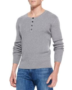 Neiman Marcus  - Ribbed Long-Sleeve Henley