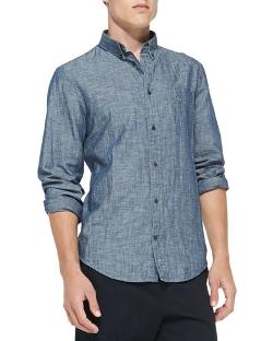 Vince - Vince Linen-Blend Chambray Shirt.