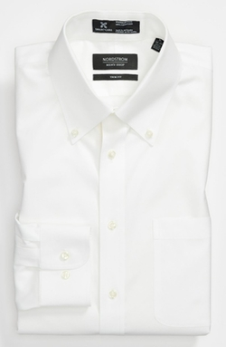 Nordstrom - Wrinkle Free Solid Pinpoint Cotton Trim Fit Dress Shirt